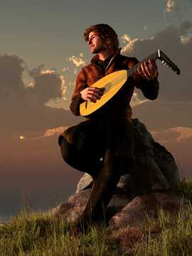 A bard plays his lute while sitting on a rocky point next to the ocean as the sun sets over the water. The medieval musician makes music for the sunset. 3D Rendering