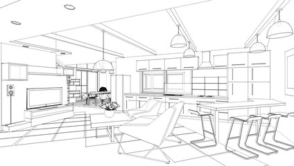 kitchen, living room, interior, sketch, 3d illustration
