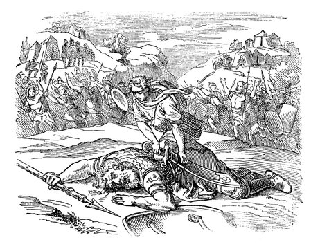 Vintage Drawing of Biblical Story of David and Goliath.Small Man Defeated Big Warrior on Battlefield.
