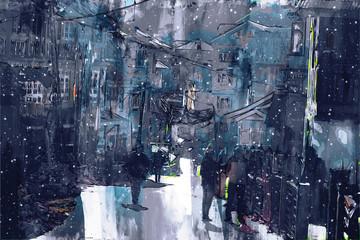 Digital painting of walking street in town, dark tone image