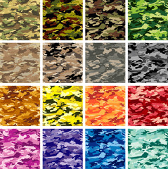 Camouflage colors seamless tiling set