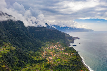 Fototapete - Beautiful mountain landscape of Madeira island, Portugal. Aerial panorama view.