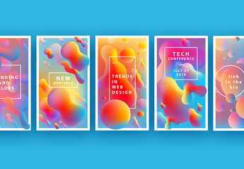 Social Media Layouts with Colorful Liquid Gradients