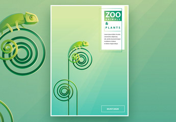 Animals and Plants Poster Layout With Green Chameleon