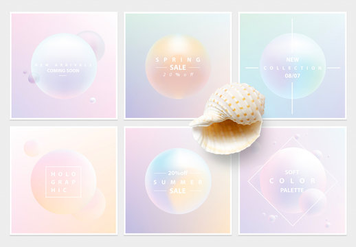 Soft Colorful Holographic Square Social Media Layouts
