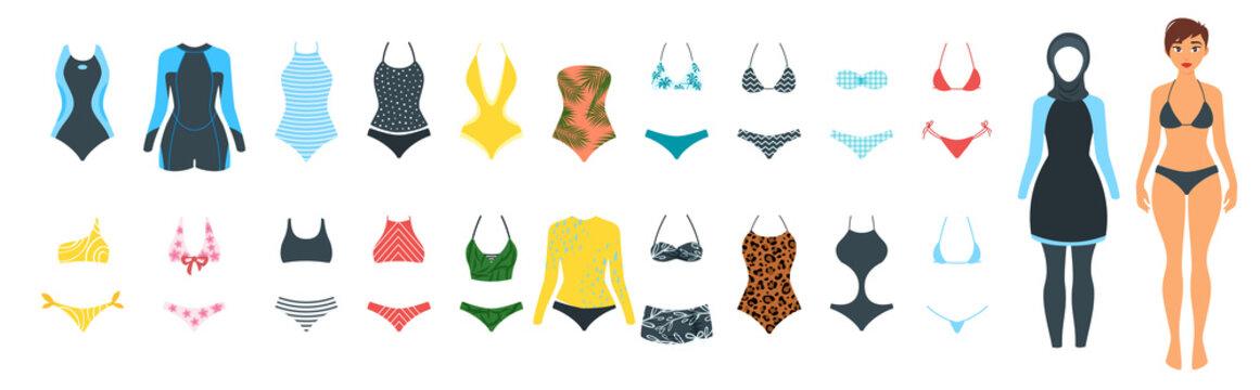 Vector set of female swimsuit