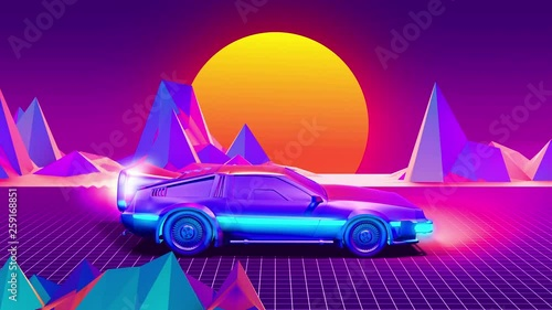 car future synthwave style back to the 80's