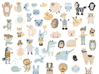Big set of wild cartoon animals pets. Cute handdrawn kids clip art collection. Vector illustration.