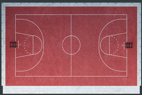 basketball court, baseline, Outdoor, 3d illustration