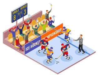 Ice Hockey Championship Isometric Composition