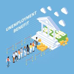 Unemployment Benefits Isometric Composition