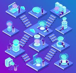 Artificial Intelligence Isometric Composition