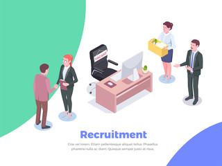 Isometric Recruitment People Background