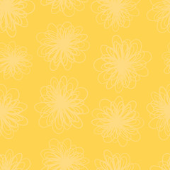 Yellow flower texture seamless vector background. Repeating pattern of abstract flowers in yellow hues. Subtle foliage texture for summer fabric, page fill, web backgrounds, home decor, banner