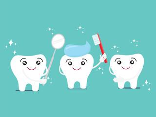 funny cartoon teeth brushing action concept
