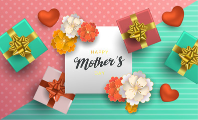 Mothers Day card of flower decoration for mom gift
