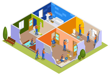 Home Repair Isometric Composition