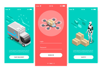 Fast Delivery Isometric Banners