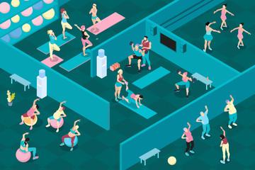 Gym Horizontal Isometric Illustration