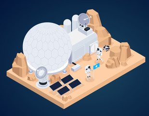 Planet Base Isometric Composition