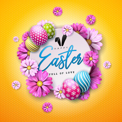 Happy Easter Holiday Design with Painted Egg and Spring Flower on Yellow Background. International Vector Celebration Illustration with Typography for Greeting Card, Party Invitation or Promo Banner.