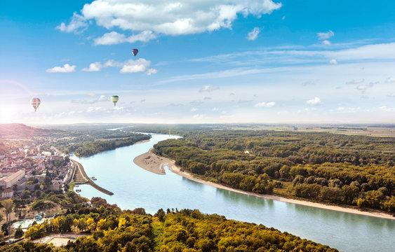 View from the Braunsberg Hainburg an der Donau along the Danube