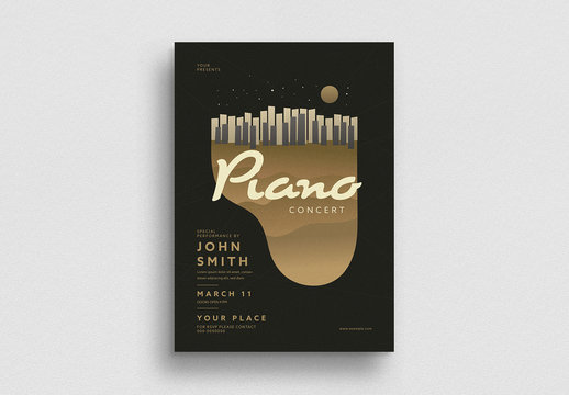 Gold Piano Concert Flyer Layout