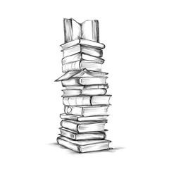 Hoher Bücherstapel