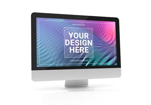 Desktop Computer Screen on White Mockup