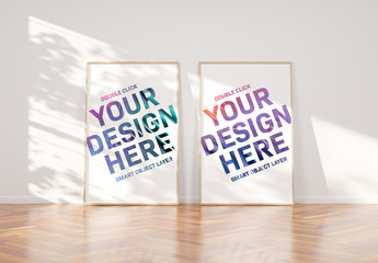 2 Vertical Frames Leaning on Wall in Interior Mockup