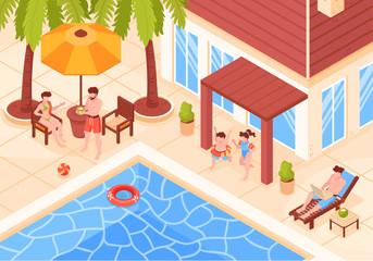 Isometric Villa Holidays Composition