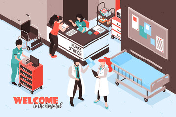Welcome Hospital Isometric Background