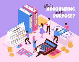 Isometric Accounting Background Concept