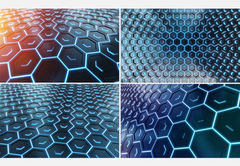 6 Abstract Hexagon Layout Backgrounds