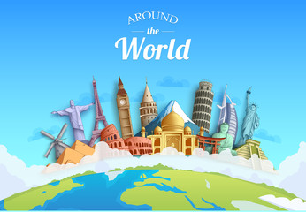Travel around the world concept background design landmarks and tourist destination elements for tourism. Vector illustration. - Vector