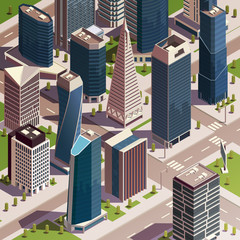 Isometric Urban Skyscrapers Composition