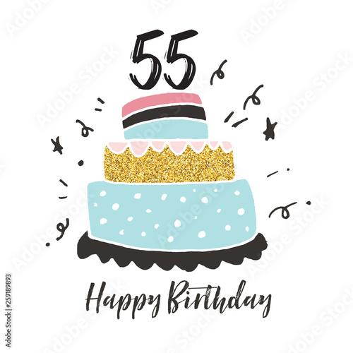 55th Birthday Hand Drawn Cake Birthday Card Stockfotos Und