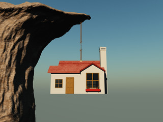 House hanging on a rope