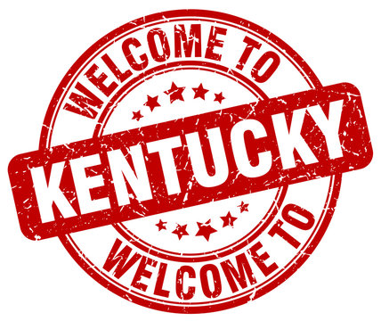 welcome to Kentucky red round vintage stamp