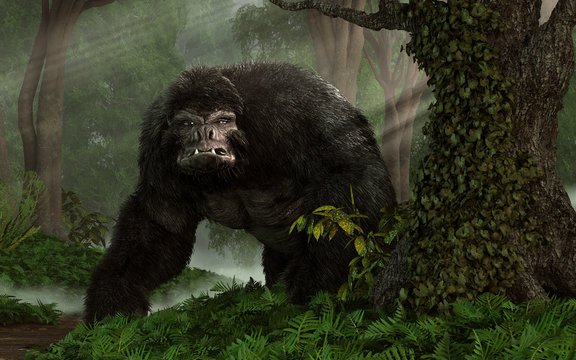 A huge hairy gorilla-like beast glares at you from a dense steamy jungle.  IT gives you one mean look. 3D Rendering