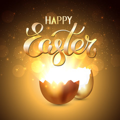 Broken golden easter egg with rays of light on a gold background. Bokeh light and glare from a cracked golden shell. Happy easter concept. Vector, space for text