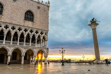 Dawn over the Doges Palace in Venice's St. Mark's Square, Italy