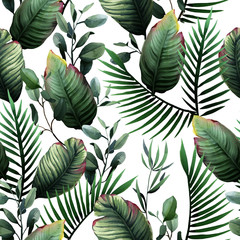 Watercolor seamless pattern of tropical green leaves and palm on white