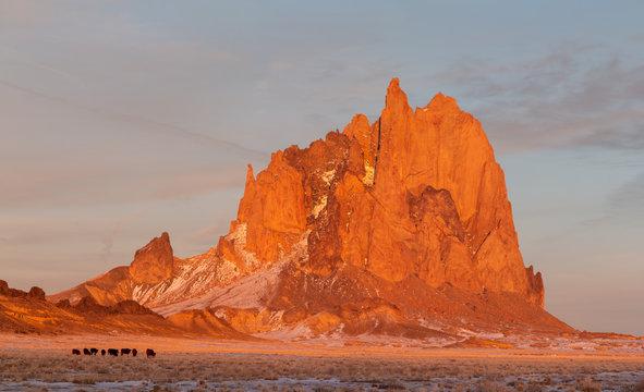 shiprock at sunset