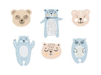 Fototapeta Set of cute cartoon animals - bears. Handdrawn kids clip art collection of characters. Vector illustration.