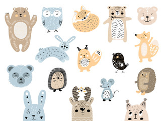 Big set of wild cartoon forest animals. Cute handdrawn kids clip art collection. Vector illustration