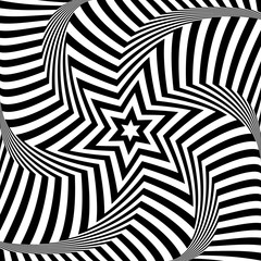 Star and lines pattern. Roration torsion illusion. Op art design.