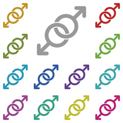 Gays, spear of mars, love multi color icon. Simple thin line, outline vector of valentines day icons for UI and UX, website or mobile application