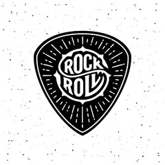Rock and Roll circle lettering on the plectrum