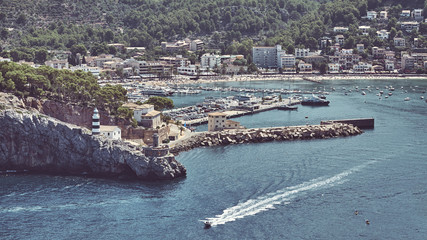 Wall Mural - Retro toned panoramic view of Port de Soller, Mallorca, Spain.